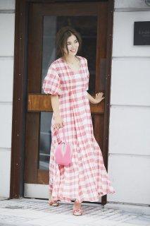 カラーチェックVネックドレス(レッド)