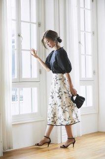 ツイード刺繍スカート(オフホワイト)