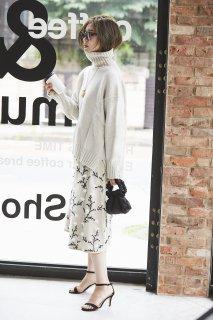 ツイード刺繍スカート(ベージュ)