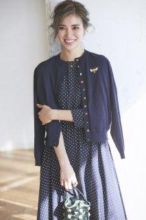 ワンポイント刺繍カーディガン(ネイビー)