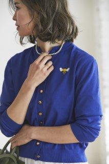 ワンポイント刺繍カーディガン(ブルー)