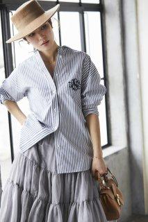 SVT刺繍オックスシャツ(ストライプ)
