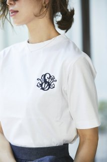 SVT刺繍Tシャツ(ホワイト×ネイビー)