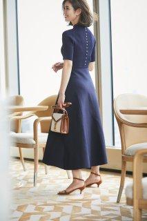 バックパールニットドレス(ネイビー)