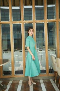 バックパールニットドレス(ライトグリーン)