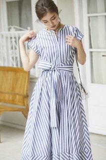ストライプシャツドレス(ネイビー)