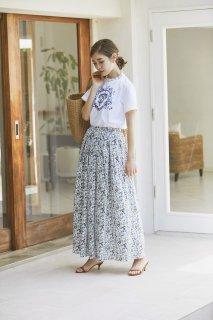 フラワープリントマキシスカート(ブルー)