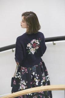 SEVEN TEN×KEITAMARUYAMA フラワー刺繍ニットカーディガン(ネイビー)