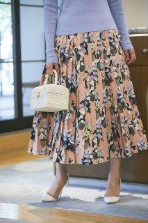 SEVEN TEN×KEITAMARUYAMA 夜の花プリントプリーツスカート(サーモンピンク)
