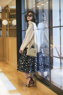 ツイード刺繍スカート(ブラック)
