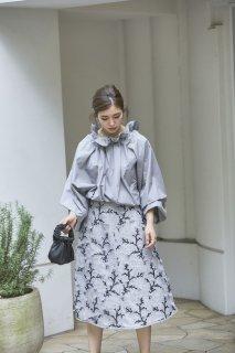 ツイード刺繍スカート(グレー)