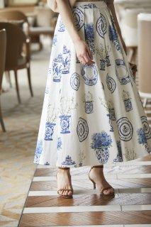 ブルーアンドホワイトプリントスカート(ブルー)
