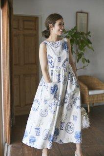 ブルーアンドホワイトプリントドレス(ノースリーブ)/ブルー