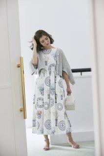 ブルーアンドホワイトプリントドレス(ノースリーブ)/ピンク