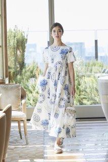 ブルーアンドホワイトプリントドレス(半袖)/ブルー