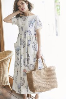 ブルーアンドホワイトプリントドレス(半袖)/ピンク