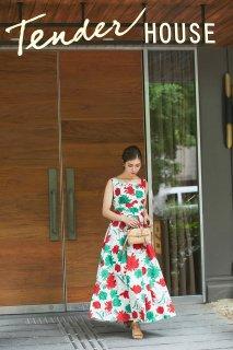 スクエアネックプリントドレス(レッド)