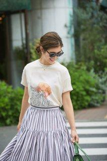 サマードレスプリントTシャツ/ブラウン(ストライプ)