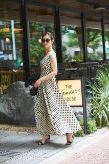 スクエアネックプリントドレス(ドット)