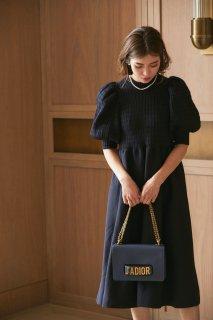 ボリュームスリーブニットドレス(ネイビー)
