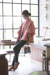 【予約】【11月初旬発送】ラッフルスリーブニットジャケット(ピンク)