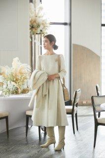 ツイードタックドレス(オフホワイト)