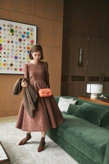 ツイードタックドレス(ブラウン)