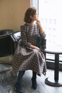 ツイードタックドレス(ネイビー)