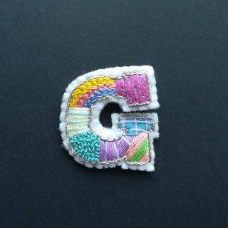 【限定】アルファベット刺繍ブローチ《G》