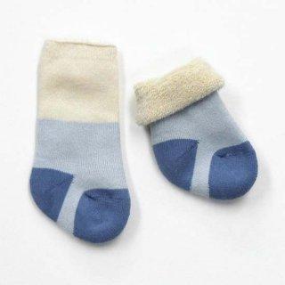 【ネコポス便可】オーガニックコットン ベビーソックス 裏パイル / きなり×ブルー / 8cm 9cm 10cm 11cm 12cm / Groedo