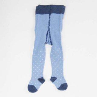 【ネコポス便可】オーガニックコットン ベビー タイツ / ブルー ハート / 70cm 80cm 90cm / Groedo