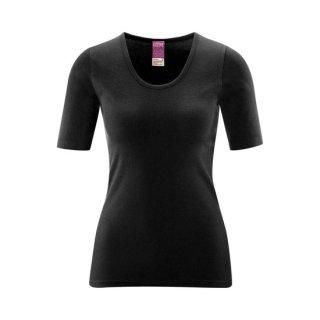 オーガニックコットン レディース 半袖アンダーシャツ 黒 / Living Crafts