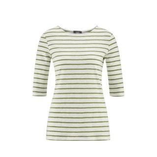 【ネコポス便可】オーガニックコットン レディース Tシャツ 5分丈 / グリーンストライプ / Living Crafts