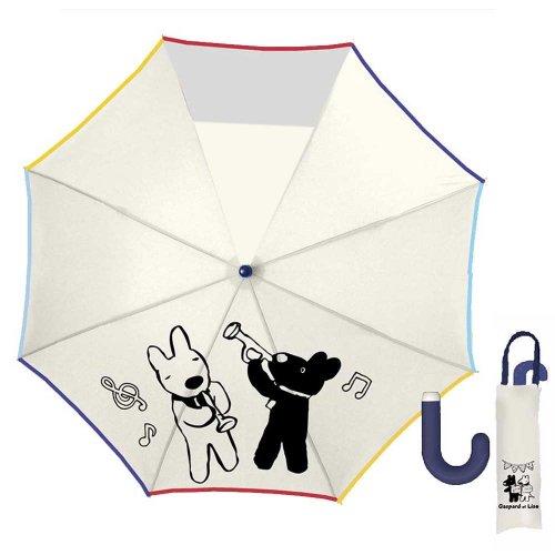 リサとガスパール 50cmキッズ折りたたみ傘(ミュージック)オフホワイト-120C-20