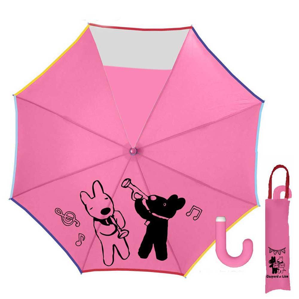 リサとガスパール 50cmキッズ折りたたみ傘(ミュージック)ピンク-120C-30 グッズ