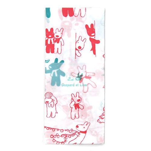 リサとガスパール 日本手拭い <まんがロング> (ピンク)