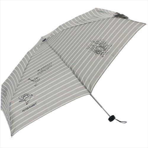 【生産終了品】ピーターラビット 折りたたみ傘(ボーダー5段ミニ)グレー 8604