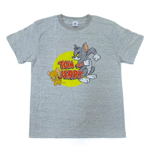 トムとジェリー Tシャツ(フタリ)ヘザーグレー-5064