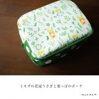 <img class='new_mark_img1' src='https://img.shop-pro.jp/img/new/icons14.gif' style='border:none;display:inline;margin:0px;padding:0px;width:auto;' />【受注制作】【メール便OK】ミモザの花冠うさぎと葉っぱのポーチ