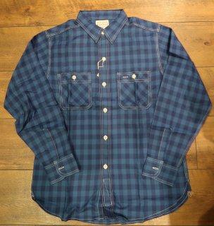 BONCOURA(ボンクラ)ワークシャツ:インディゴブロックチェック青