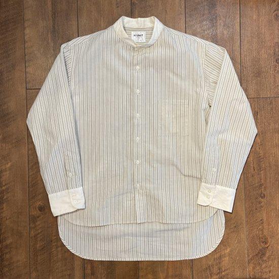 H.UNIT ユニセックス Stripe bandcollar cleric long sleeves shirt