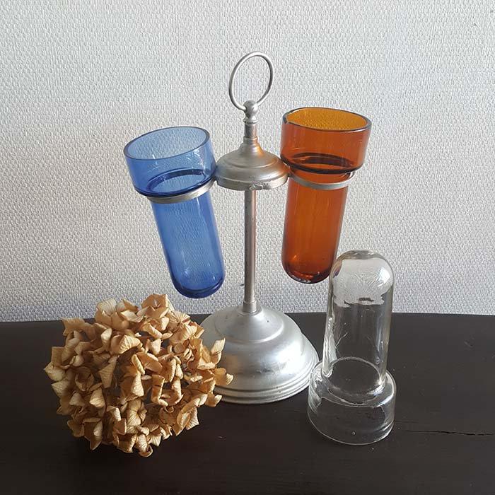 昭和レトロガラス(シカン瓶)回転スタンド(ガラス瓶3本つき) サブイメージ