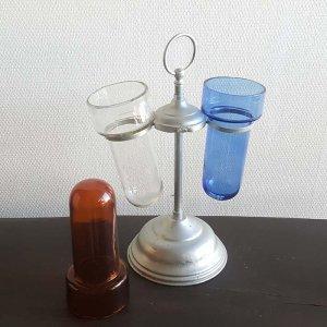 昭和レトロガラス(シカン瓶)回転スタンド(ガラス瓶3本つき)