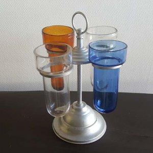 昭和レトロガラス(シカン瓶)回転スタンド(ガラス瓶4本つき)