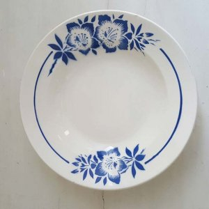 フランス・蚤の市・ブロカント・陶器・絵皿・花柄皿・ブルーフラワー