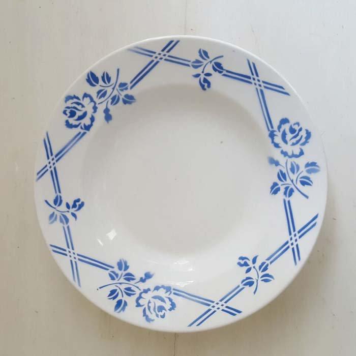 フランス・蚤の市・ブロカント・陶器・絵皿・花柄皿・レトロブルーフラワー メインイメージ