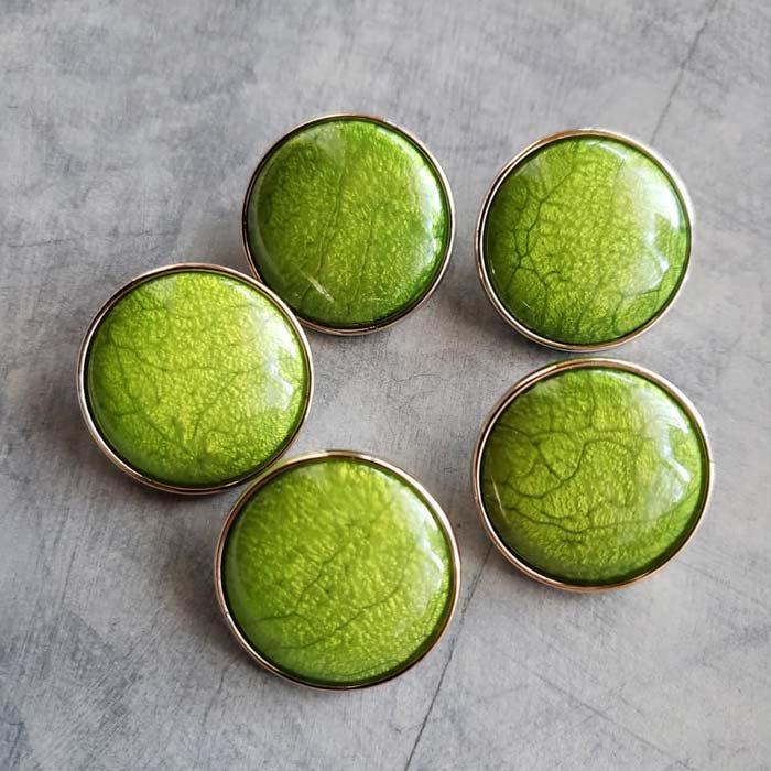 5個セット・同色ボタン・お買い得価格ボタン・大サイズ・ライトグリーン メインイメージ