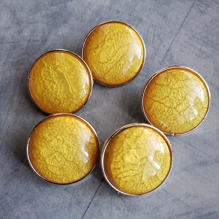 5個セット・同色ボタン・お買い得価格ボタン・大サイズ・イエロー メインイメージ