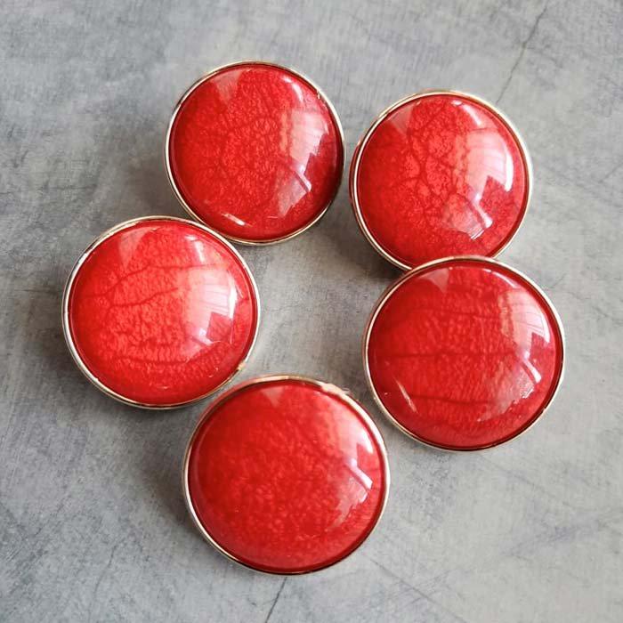 5個セット・同色ボタン・お買い得価格ボタン・大サイズ・レッド メインイメージ