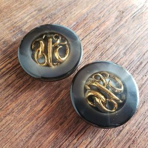 No.3/ダークブラウン×ゴールド/3cm/レトロボタン・2個セット